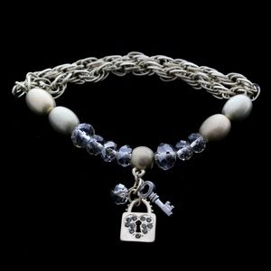 Padlock Key Bangle-Bracelet Gold & Silver NWOT